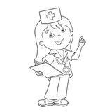 Coloring Page Outline Of cartoon doctor Royalty Free Stock Photos