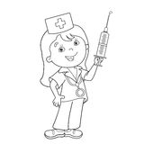 Coloring Page Outline Of cartoon doctor with a syringe. Profession. Medicine. Coloring book for kids Royalty Free Stock Photo