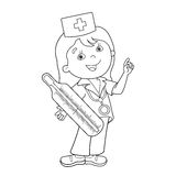 Coloring Page Outline Of cartoon doctor with thermometer. Profession. Medicine. Coloring book for kids Stock Photos