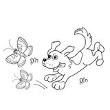 Coloring Page Outline Of cartoon dog with butterflies Royalty Free Stock Photos