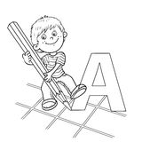 Coloring Page Outline Of A Cartoon drawing Boy Stock Images
