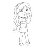 Coloring page outline of cartoon girl Stock Photos
