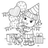 Coloring Page Outline Of a cartoon girl with a balloons and with with a teddy bear at the holiday. Birthday. Coloring book for