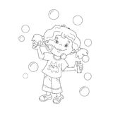 Coloring Page Outline Of cartoon girl blowing soap bubbles stock illustration