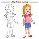 Coloring Page Outline Of A Cartoon girl Royalty Free Stock Images