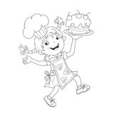 Coloring Page Outline Of cartoon Girl chef with cake Stock Image