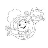 Coloring Page Outline Of cartoon Girl chef with cake Stock Images