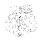 Coloring Page Outline Of cartoon Girl chef with cake Royalty Free Stock Photography
