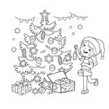 Coloring Page Outline Of cartoon girl decorating the Christmas tree with gifts. Christmas. New year. Coloring book for kids. Coloring Page Outline Of cartoon Stock Image