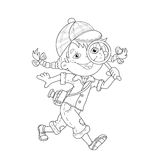 Coloring Page Outline Of cartoon girl detective with loupe. Coloring book for kids Royalty Free Stock Photo