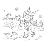 Coloring Page Outline Of Cartoon Girl Feeding Birds Winter Royalty Free Illustration