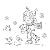 Coloring Page Outline Of cartoon girl feeding birds. Winter. Stock Photography