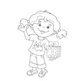 Coloring Page Outline Of cartoon girl with a gift Royalty Free Stock Photo