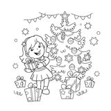 Coloring Page Outline Of cartoon girl with gift at Christmas tree. Christmas. New year. Coloring book for kids. Coloring Page Outline Of cartoon girl with gift Royalty Free Stock Images