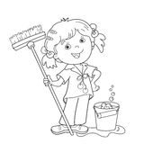 Coloring Page Outline Of cartoon girl with mop and bucket. Housework. Washing floors. Coloring book for kids Stock Images