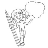 Coloring Page Outline Of a Cartoon Girl with pencil Royalty Free Stock Images