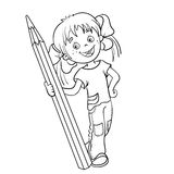 Coloring Page Outline Of a Cartoon Girl with pencil Stock Photos