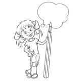 Coloring Page Outline Of a Cartoon Girl with pencil Royalty Free Stock Photography