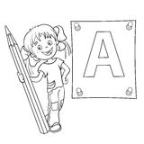 Coloring Page Outline Of a Cartoon Girl with pencil and large le. Tter isolated on white background Royalty Free Stock Image
