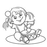 Coloring Page Outline Of a Cartoon girl playing the drum Stock Images