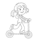Coloring Page Outline Of cartoon girl on the scooter Royalty Free Stock Images