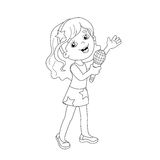 Coloring Page Outline Of cartoon girl singing a song Stock Image