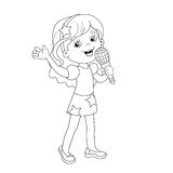 Coloring Page Outline Of cartoon girl singing a song Royalty Free Stock Photos