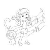 Coloring Page Outline Of cartoon girl singing a song Stock Photos