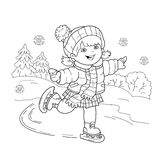 Coloring Page Outline Of cartoon girl skating. Winter sports. Stock Photo