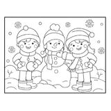 Coloring Page Outline Of cartoon girl skating. Winter sports. Coloring book for kids.  Stock Photo