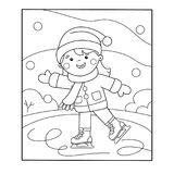 Coloring Page Outline Of cartoon girl skating. Winter sports. Coloring book for kids Stock Photography