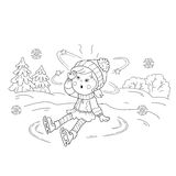 Coloring Page Outline Of cartoon girl skating. Winter sports. Royalty Free Stock Photos