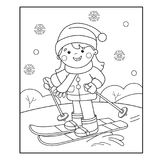 Coloring Page Outline Of cartoon girl skiing. Winter sports. Coloring book for kids Royalty Free Stock Images