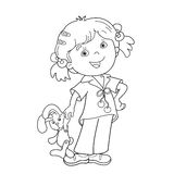 Coloring Page Outline Of cartoon girl with toy hare Royalty Free Stock Photo