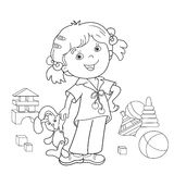 Coloring Page Outline Of cartoon girl with toys Stock Photo