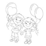 Coloring Page Outline Of cartoon girls with balloons. Coloring Page Outline Of cartoon girls holding hands with balloons. Coloring book for kids Royalty Free Stock Photos