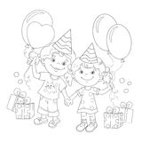 Coloring Page Outline Of cartoon girls with a gift. At the holiday. Coloring book for kids Royalty Free Stock Photo