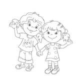 Coloring Page Outline Of cartoon girls holding hands Stock Photos