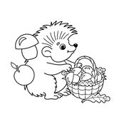 Coloring Page Outline Of cartoon hedgehog with basket of mushrooms Stock Image
