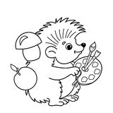 Coloring Page Outline Of cartoon hedgehog with brushes and paints Royalty Free Stock Images