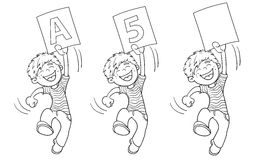 Coloring Page Outline Of A Cartoon Jumping boy with highest rati Royalty Free Stock Image