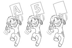 Coloring Page Outline Of A Cartoon Jumping Girl  Stock Images