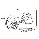 Coloring Page Outline Of cartoon little mouse with pencils with Drawing cheese. Coloring book for kids Royalty Free Stock Photo