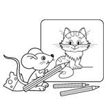 Coloring Page Outline Of cartoon little mouse with pencils with picture of cat. Coloring book for kids Stock Photo