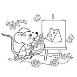 Coloring Page Outline Of cartoon little mouse with picture of cheese with brush and paints. Coloring book for kids Royalty Free Stock Images
