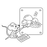 Coloring Page Outline Of cartoon little mouse with picture of mushrooms with brush and paints. Coloring book for kids Stock Photos