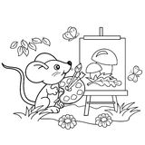 Coloring Page Outline Of cartoon little mouse with picture of mushrooms with brush and paints in the meadow with butterflies Stock Image