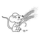 Coloring Page Outline Of cartoon little mouse with spikelets. Coloring book for kids Stock Photo