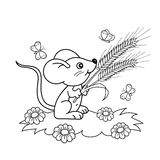 Coloring Page Outline Of cartoon little mouse with spikelets in the meadow with butterflies. Coloring book for kids Royalty Free Stock Image