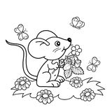 Coloring Page Outline Of cartoon little mouse with strawberries in the meadow with butterflies. Coloring book for kids Royalty Free Stock Photo